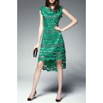 Round Collar Hollow Out High Low Dress deal