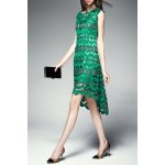 best Round Collar Hollow Out High Low Dress