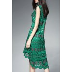cheap Round Collar Hollow Out High Low Dress