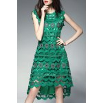 Round Collar Hollow Out High Low Dress