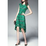 Round Collar Hollow Out High Low Dress for sale