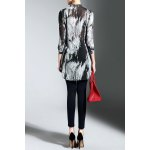 cheap Buttoned High Low Print Blouse