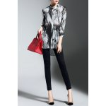 Buttoned High Low Print Blouse deal