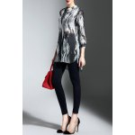 Buttoned High Low Print Blouse photo