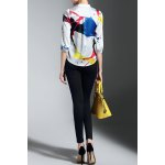 cheap Pocket Design Hit Color Print Blouse