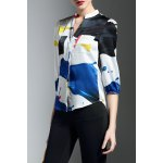 best Pocket Design Hit Color Print Blouse
