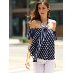 Sweet Off-The-Shoulder Striped T-Shirt For Women for sale