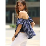 Sweet Off-The-Shoulder Striped T-Shirt For Women photo