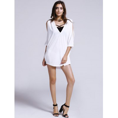 Womens Chic Plunging Neck Pure Color Cut Out Loose Bat Sleeve T-ShirtWomens Clothing<br>Womens Chic Plunging Neck Pure Color Cut Out Loose Bat Sleeve T-Shirt<br><br>Material: Polyester<br>Clothing Length: Long<br>Sleeve Length: Three Quarter<br>Collar: Plunging Neck<br>Style: Streetwear<br>Season: Summer<br>Pattern Type: Solid<br>Weight: 0.217kg<br>Package Contents: 1 x T-Shirt