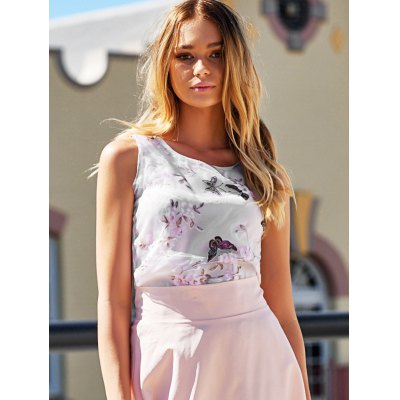 Sweet Scoop Neck Butterfly Print Tank Top For Women
