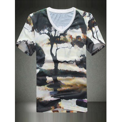 Casual V-Neck 3D Tree Printing T-Shirt For Men