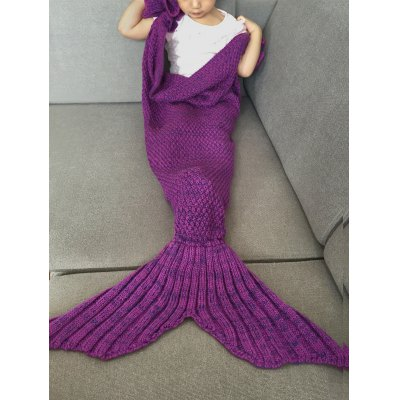 Falbala Shape Knitted Mermaid Tail Design Blankets For Baby
