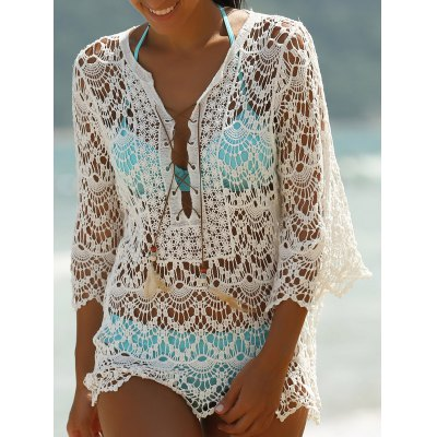3/4 Sleeve Lace-Up White Hollow Out Women's Cover-Up