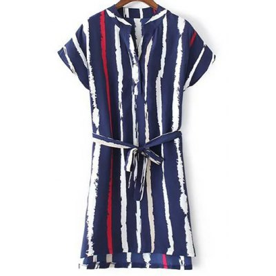 Casual Striped Dress With Belt For Women