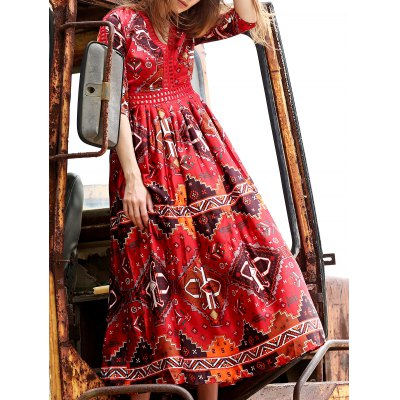 Plunging Neck 3/4 Sleeve Ethnic Style Printed Dress