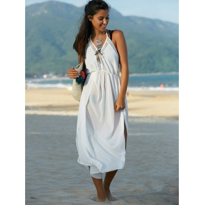 Bohemian Halter Furcal Backless Solid Color Women's Dress