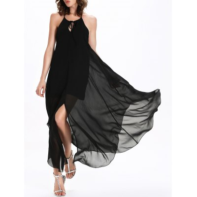 Spaghetti Strap Split Solid Chiffon Maxi Dress