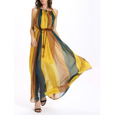 Sweet Spaghetti Strap Color Block Self-Tie Chiffon Dress