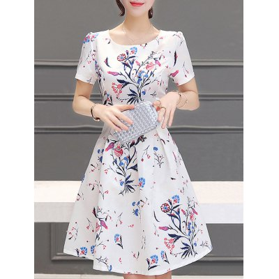 Jewel Neck Short Sleeves Pleated Flare Dress For Women