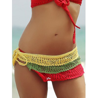 Color Block Layered Crochet Skirted Bathing Suit Bottom