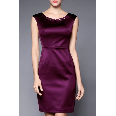 Beading Decorated Solid Color Dress