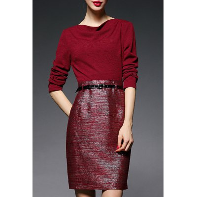 Pure Color High Waist Belted Dress