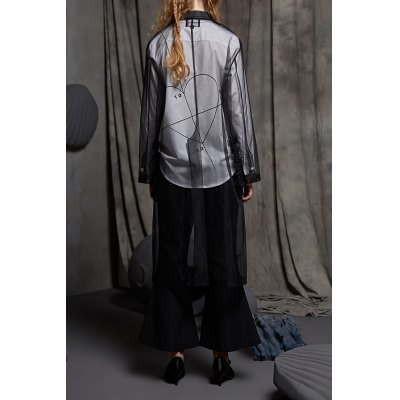 Sheer Button Up BlouseDesigner Sweaters &amp; Cardigans<br>Sheer Button Up Blouse<br><br>Material: Nylon<br>Composition: 100% Nylon<br>Clothing Length: X-Long<br>Sleeve Length: Full<br>Collar: Lapel<br>Pattern Type: Solid<br>Style: Fashion<br>Seasons: Spring/Fall,Summer<br>Weight: 0.270kg<br>Package Contents: 1 x Blouse