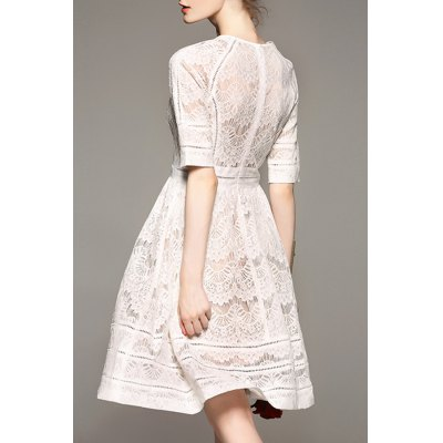 A Line Lace DressDesigner Dresses<br>A Line Lace Dress<br><br>Style: Cute<br>Occasion: Bridal,Casual,Cocktail &amp; Party,Work<br>Material: Cotton,Polyester<br>Composition: 75% Cotton,25% Polyester<br>Silhouette: A-Line<br>Dresses Length: Knee-Length<br>Neckline: Round Collar<br>Sleeve Length: Short Sleeves<br>Waist: Empire<br>Pattern Type: Solid<br>With Belt: No<br>Season: Summer<br>Weight: 0.380kg<br>Package Contents: 1 x Dress