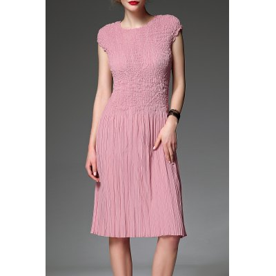 Round Collar Solid Color Pleated Dress