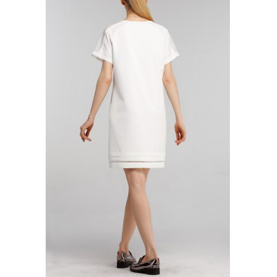 Cutwork Mini Shift DressDesigner Dresses<br>Cutwork Mini Shift Dress<br><br>Style: Brief<br>Occasion: Causal,Work<br>Material: Polyester,Spandex<br>Composition: 95% Polyester,5% Spandex<br>Neckline: Round Collar<br>Silhouette: Straight<br>Dresses Length: Mini<br>Sleeve Length: Short Sleeves<br>Pattern Type: Solid<br>With Belt: No<br>Season: Summer<br>Weight: 0.390kg<br>Package Contents: 1 x Dress