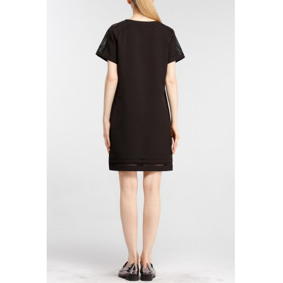 Hollow Out Solid Color Straight Dress