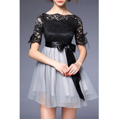 Bowknot Embellished Lace Spliced Dress