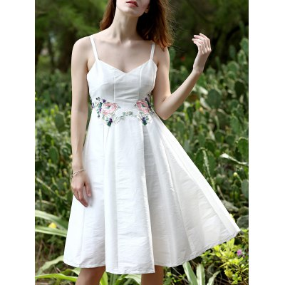 Stylish Spaghetti Straps Sleeveless Floral Embroidery Women's Dress