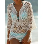Trendy 3/4 Sleeve Lace-Up White Hollow Out Women's Cover-Up