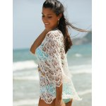 Trendy 3/4 Sleeve Lace-Up White Hollow Out Women's Cover-Up deal