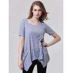 Fashionable Scoop Neck Asymmetric T-Shirt For Women deal