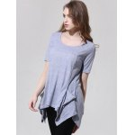 Fashionable Scoop Neck Asymmetric T-Shirt For Women for sale