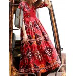 Stylish Plunging Neck 3/4 Sleeve Ethnic Style Printed Women's Dress