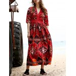 Stylish Plunging Neck 3/4 Sleeve Ethnic Style Printed Women's Dress deal