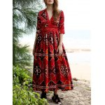 cheap Stylish Plunging Neck 3/4 Sleeve Ethnic Style Printed Women's Dress