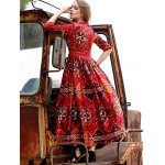 best Stylish Plunging Neck 3/4 Sleeve Ethnic Style Printed Women's Dress
