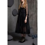 cheap Sheer A Line Midi Dress