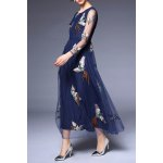 best Round Collar Voile Embroidery Dress