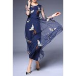 Round Collar Voile Embroidery Dress deal