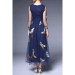 cheap Round Collar Voile Embroidery Dress