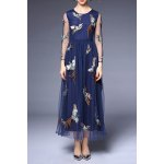 Round Collar Voile Embroidery Dress for sale