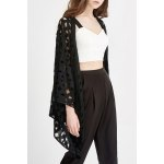 Hollow Out Solid Color Belted Blouse deal
