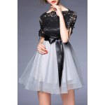 Bowknot Embellished Lace Spliced Dress deal
