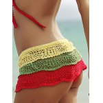 cheap Color Block Layered Crochet Skirted Bathing Suit Bottom