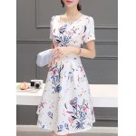 Stunning Jewel Neck Short Sleeves Pleated Flare Dress For Women deal